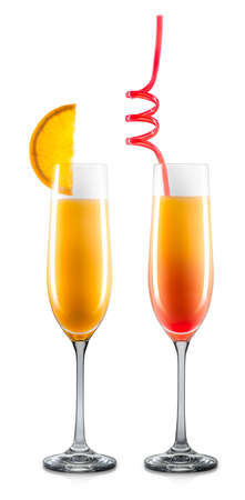 Set of mimosa cocktails in champagne glass with colorful straw and orange slice isolated on white background.