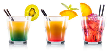 Set of cocktails in old fashioned glass with black straw isolated on white background.