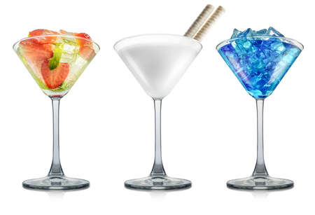 Set of milk, mojito and blue curacao cocktails in martini glass isolated on white background. Stock Photo