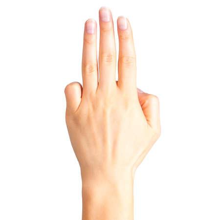 Main féminine montrant trois doigts, un signe de serment ou un geste multi-touch.