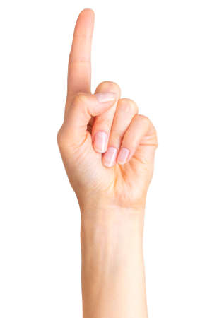 Woman hand with the index finger pointing up.