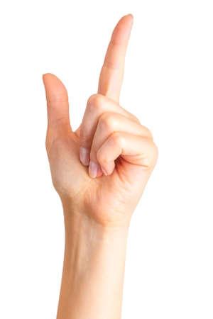 Frauenhand mit dem Zeigefinger nach oben.