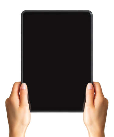 Womens hand showing black tablet, concept of taking photo or playing games with two hands. Isolated with clipping path.
