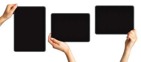 Set of mockups of black tablets in womens hands, concept of mobile shopping. Isolated with clipping path.