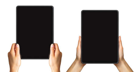 Set of mockups of black tablets in womens hands, concept of taking photo. Isolated with clipping path.