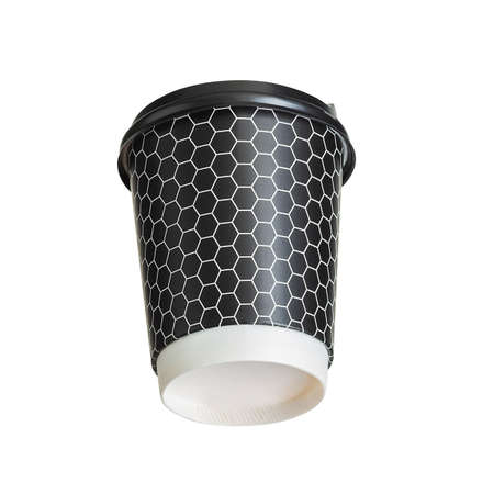 Mockup of coffee paper drinking cup with disposable top cap on white background. Isolated with clipping path.