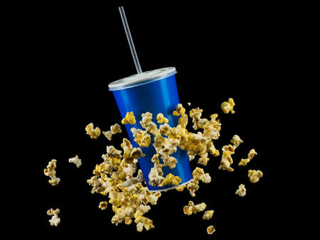 Blue cup with cap and flying popcorn isolated on black
