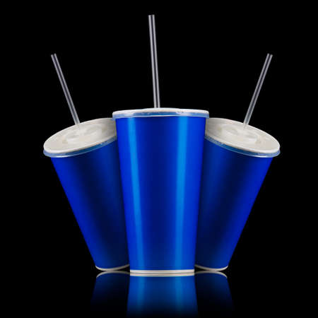 Set of blue cups with cap and tube isolated on black