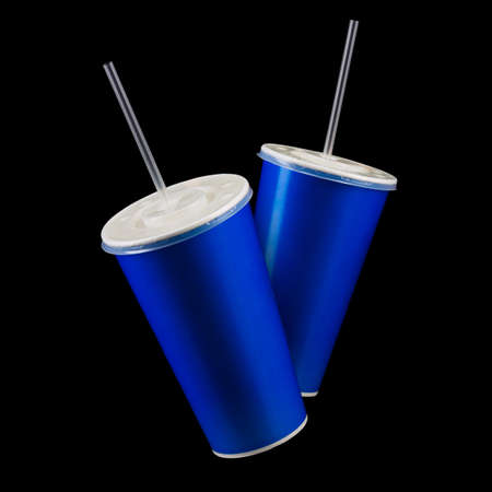 Set of blue cups with cap and tube isolated on black background. Concept of refreshments in cinema or watching movies 写真素材