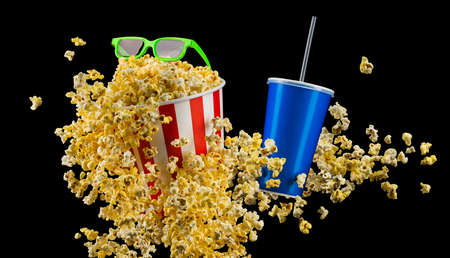 Paper striped bucket with popcorn, cup of soft and glasses isolated on black background, movie night concepto or watching TV.