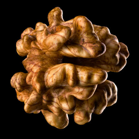 Kernel walnut isolated on a black Banque d'images