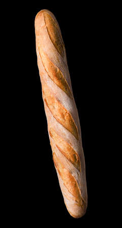French baguette isolated on a black