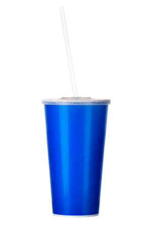 Blue cup with cap and tube isolated on white background. Concept of refreshments in cinema or watching movies