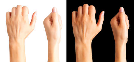 Set of woman clenched fist. Concept of unity, fight and cooperation. Isolated with clipping path.