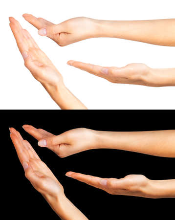Set of women hands taking or showing something on black and white