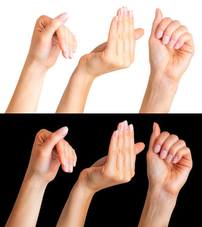 Set of woman hands gesture on white and black