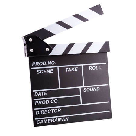 Film clapper board isolated on white