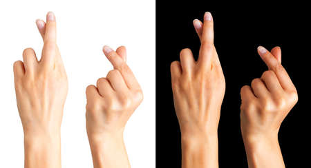 Set of woman hand holding something with two fingers or showing heart sign on black