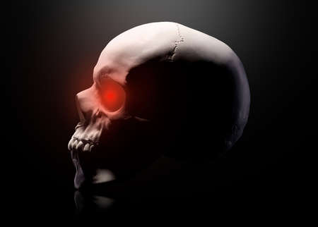 Model  the human skull  red eyes  on black background   . Concept  terror, physiology learning and drawing. 版權商用圖片