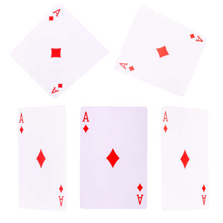 Playing cards for poker game on white
