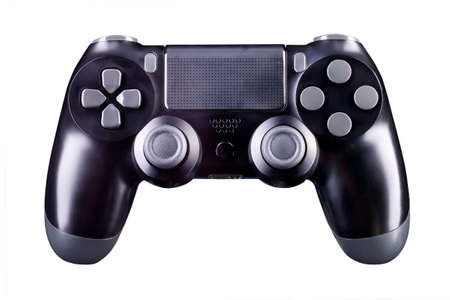 Black video game joystick gamepad isolated on a white background with clipping path Banque d'images