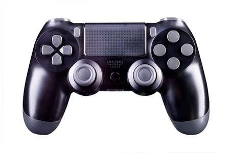 Schwarzes Videospiel-Joystick-Gamepad isoliert auf weißem Hintergrund mit Beschneidungspfad Standard-Bild