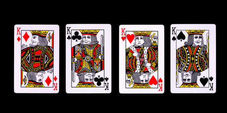 Playing cards for poker game on black background with clipping path. Concept of gamble games and casino