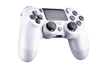 White video game joystick gamepad isolated on a white background with clipping path