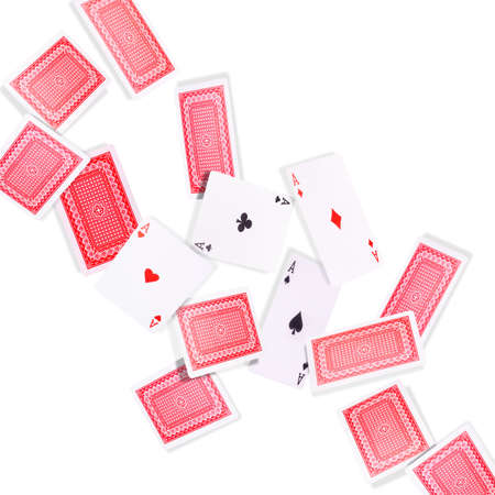 Flying playing cards for poker game on white background. Concept of gamble games and casino