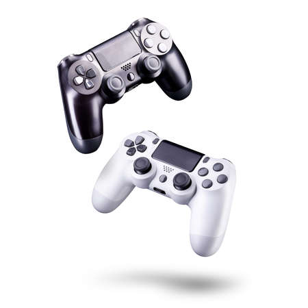 Set of video game joysticks gamepad isolated on a white background, concept of playing games or watching TV.