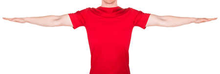 Man in red t-shirt stretched arm and fingers on the side isolated white background with clipping path. Concept of t shirt template or delivery Foto de archivo