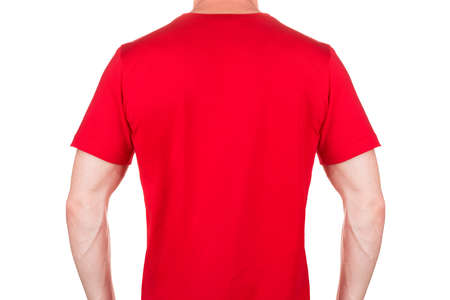 Back view of pumped up man in blank red t-shirt isolated white background with clipping path. Concept of t shirt template and mock-up for print 写真素材