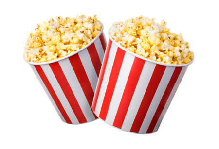 Set of paper striped buckets with popcorn isolated on white background. Concept of cinema or watching TV. 版權商用圖片