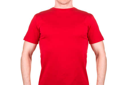 Front view of confident male in blank red t-shirt isolated white background  . Concept of t shirt template and mock-up for print