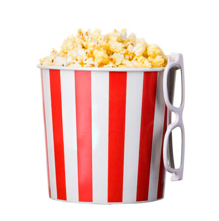 Paper striped bucket with popcorn and 3D glasses isolated on white background  . Concept of cinema or watching TV. 版權商用圖片