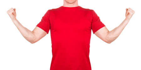 Front view of confident man in red t-shirt showing power gesture isolated white background  . Concept of t shirt template and mock-up for print 版權商用圖片