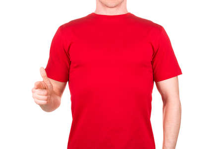 Man in red t-shirt who is willing to make a deal or say hello isolated white background  . Concept of t shirt template and mock-up for print 版權商用圖片
