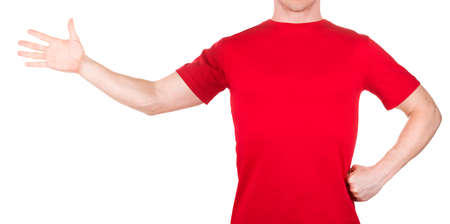 Man in red t-shirt stretched arm and fingers on the side isolated white