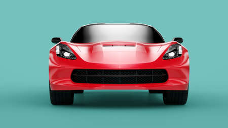Front view of a red sport concept car on green background. 3d illustration and 3d render of modern brandless car 免版税图像