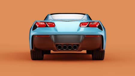 Back view of a blue sport concept car on orange background. 3d illustration and 3d render of modern brandless car 免版税图像
