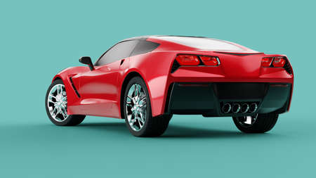 Back view of a red sport concept car on green background. 3d illustration and 3d render of modern brandless car 免版税图像
