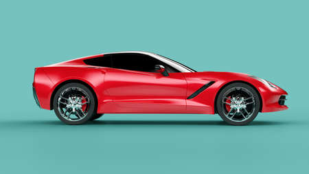 Side view of a red sport concept car on green background. 3d illustration and 3d render of modern brandless car 免版税图像