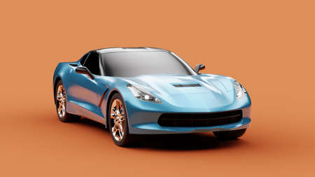 Front view of a blue sport concept car on orange background. 3d illustration and 3d render of modern brandless car