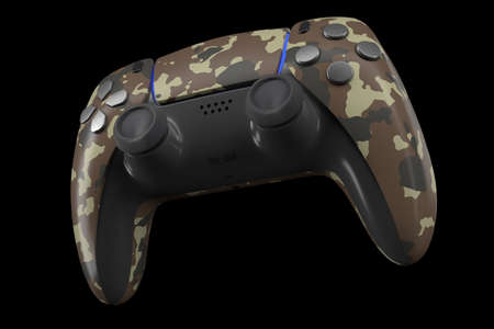 Realistic video game controller isolated on black . 3D rendering of camouflage colored streaming gear and gamer workspace concept 版權商用圖片