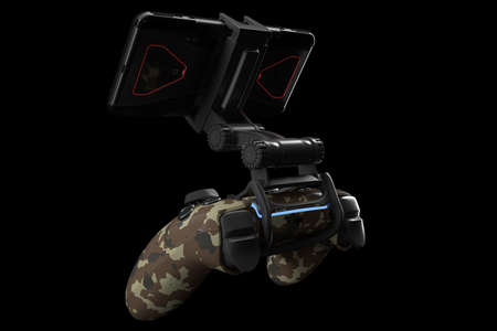 Realistic joystick for playing games on a mobile phone isolated on black background . 3D rendering of camouflage colored video game controller