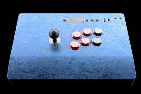 Vintage arcade stick with joystick and tournament-grade buttons isolated on black background. 3D rendering of gaming machine and gamer workspace concept