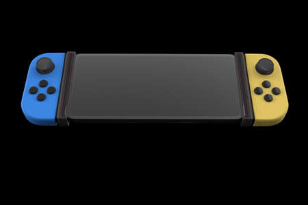 Realistic video game controllers attached to mobile phone isolated on black . 3D rendering of blue and yellow gamepad for online gaming Stock Photo