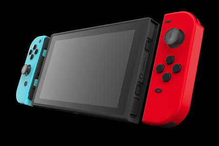 Realistic video game controllers attached to touch screen isolated on black . 3D rendering of blue and red gamepad for online gaming Archivio Fotografico