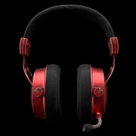 Used metal gaming headphones with microphone and scratches isolated on black background. 3D rendering of of cybersport hardcore gaming and e-sport tournament concept