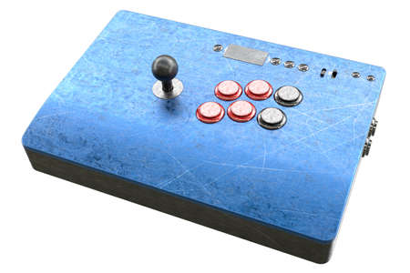 Vintage used arcade stick with joystick and tournament grade buttons and scratches isolated on white background. 3D rendering of cybersport hardcore gaming and e-sport tournament concept